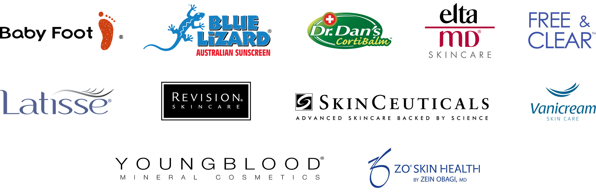 Shades Valley Dermatology carries Elta MD, Revision Skincare, ZO Skin Health, Free and Clear, Vanicream, Latisse, Youngblood Cosmetics, SkinCeuticals, BabyFoot, Blue Lizard, and Dr. Dan's skin care products.